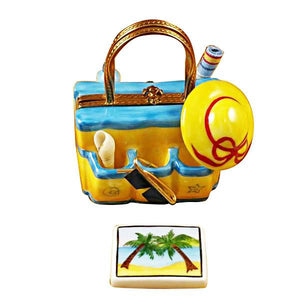 Beach Tote with Hat & Accesories Limoges Box by Rochard™-Rochard-Top Notch Gift Shop