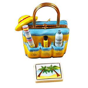 Beach Tote with Hat & Accesories Limoges Box by Rochard™-Limoges Box-Rochard-Top Notch Gift Shop