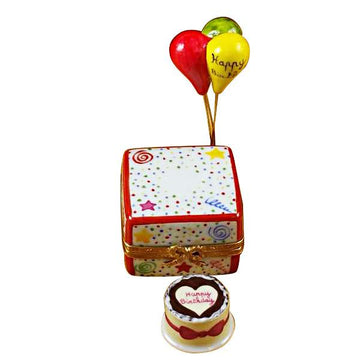 Birthday Cake with Balloons  & Confetti Limoges Box by Rochard™