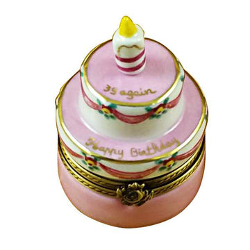 "Birthday Cake with Pink Candle - ""39 Again"" Limoges Box by Rochard™"
