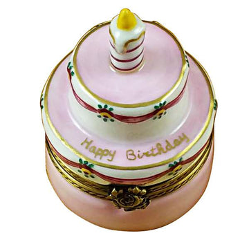 Birthday Cake with Pink Candle Limoges Box by Rochard™