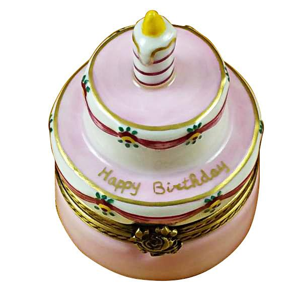 Birthday Cake with Pink Candle Limoges Box by Rochard™-Limoges Box-Rochard-Top Notch Gift Shop