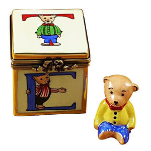 Block With Bear Limoges Box by Rochard™-Limoges Box-Rochard-Top Notch Gift Shop