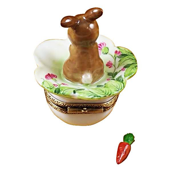 Brown Bunny with Carrot Limoges Box by Rochard-Limoges Box-Rochard-Top Notch Gift Shop