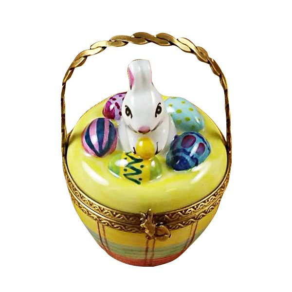 Bunny In Basket Limoges Box by Rochard-Limoges Box-Rochard-Top Notch Gift Shop