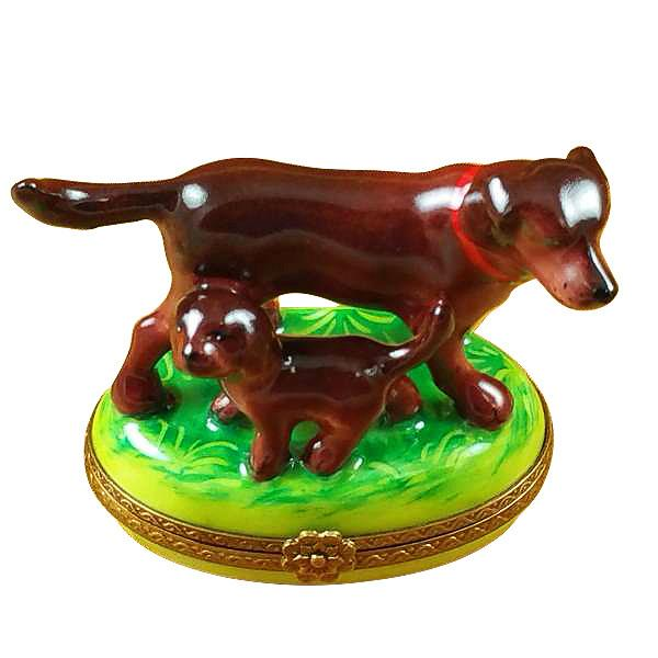 Chocolate Lab With Puppy Limoges Box by Rochard-Limoges Box-Rochard-Top Notch Gift Shop