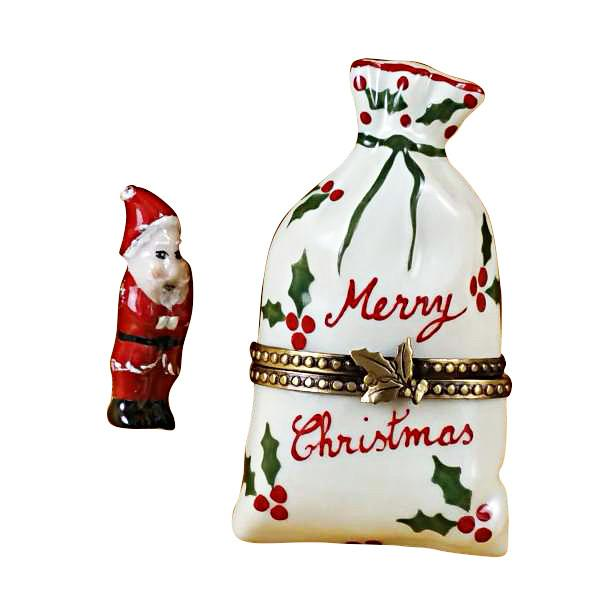 Christmas Bag With Santa Limoges Box by Rochard™-Rochard-Top Notch Gift Shop