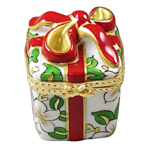 Christmas Gift Box with Red Bow Limoges Box by Rochard™-Limoges Box-Rochard-Top Notch Gift Shop