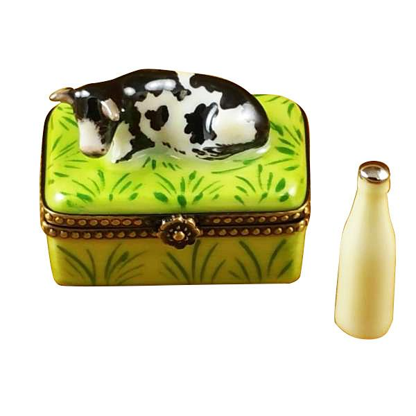 Cow with Milk Bottle Limoges Box by Rochard™-Limoges Box-Rochard-Top Notch Gift Shop
