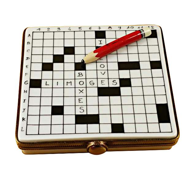 Crossword Puzzle Limoges Box by Rochard™-Limoges Box-Rochard-Top Notch Gift Shop