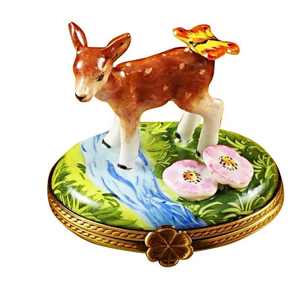 Deer With Butterfly and Flowers Limoges Box by Rochard-Limoges Box-Rochard-Top Notch Gift Shop