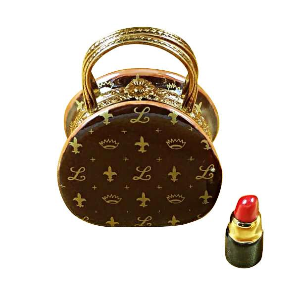 Designer Purse With Lipstick Limoges Box by Rochard-Limoges Box-Rochard-Top Notch Gift Shop
