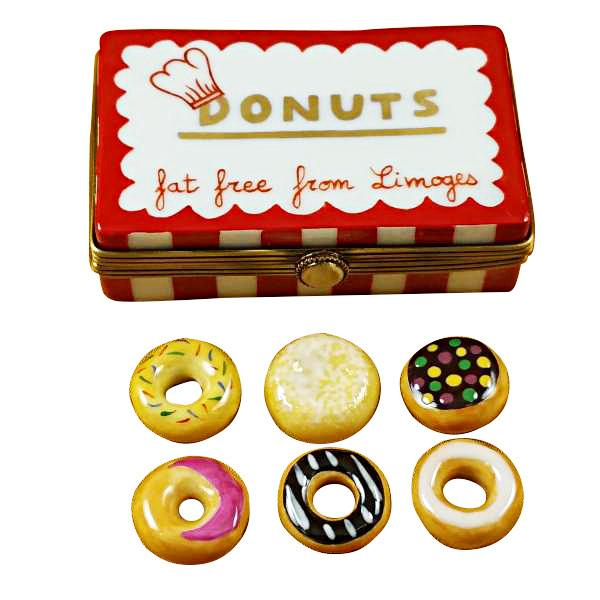 Donut Box with Six Donuts Limoges Box by Rochard-Limoges Box-Rochard-Top Notch Gift Shop
