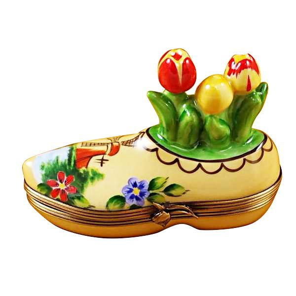 Dutch Clog With Tulips Limoges Box by Rochard-Limoges Box-Rochard-Top Notch Gift Shop