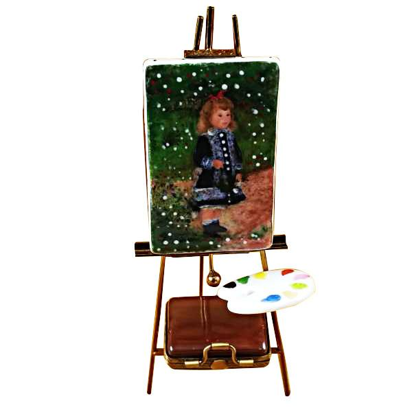 Easel with Paints Renoir: A Girl With Watering Can Limoges Box by Rochard™-Limoges Box-Rochard-Top Notch Gift Shop