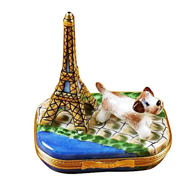Eiffel Tower with Jack Russell Terrier Limoges Box by Rochard™-Limoges Box-Rochard-Top Notch Gift Shop