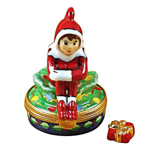 Elf With Package Limoges Box by Rochard™-Limoges Box-Rochard-Top Notch Gift Shop