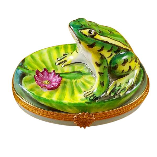 Frog On Lily Pad Limoges Box by Rochard-Limoges Box-Rochard-Top Notch Gift Shop
