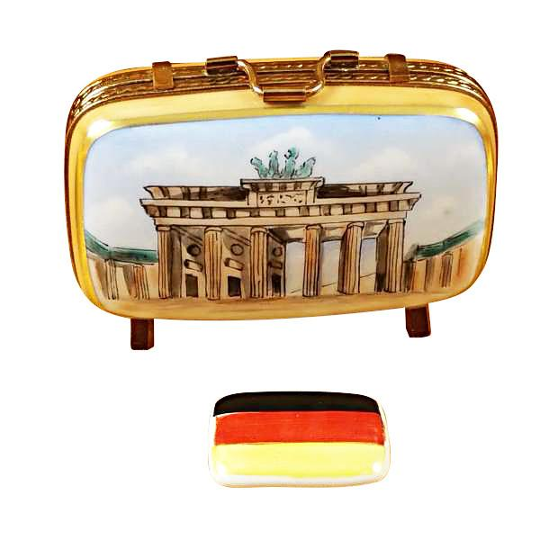 German Travel Suitcase with Flag Limoges Box by Rochard-Limoges Box-Rochard-Top Notch Gift Shop