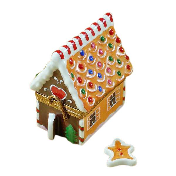 Gingerbread House with Gingerman Limoges Box by Rochard™-Limoges Box-Rochard-Top Notch Gift Shop