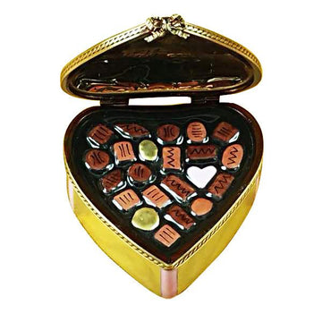 Gold Heart with Pink Bow & Chocolates Limoges Box by Rochard™