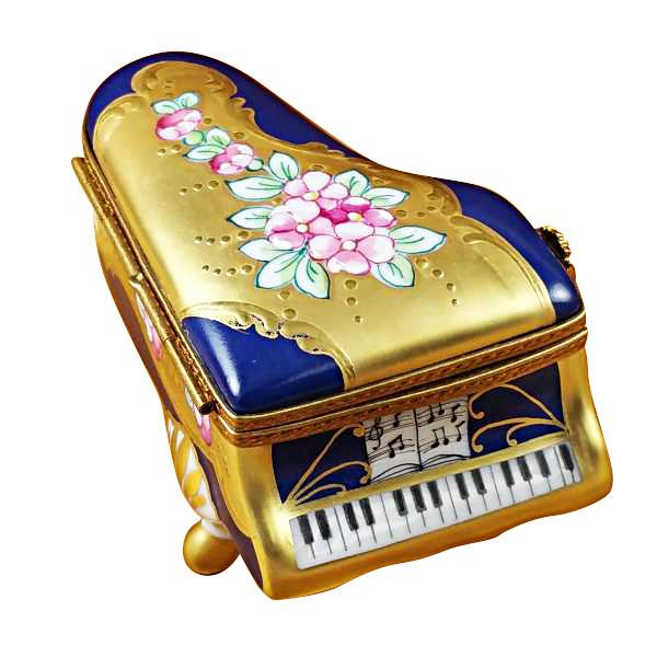 Grand Piano Roses Blue/Gold Limoges Box by Rochard-Limoges Box-Rochard-Top Notch Gift Shop