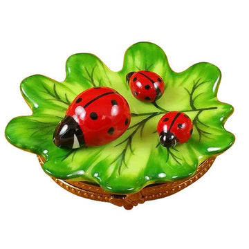 Green Leaf With Three Ladybugs Limoges Box by Rochard™