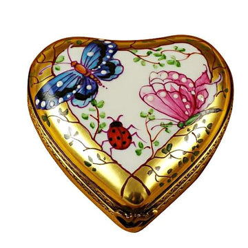 Heart-Butterfly On Gold Base Limoges Box by Rochard™