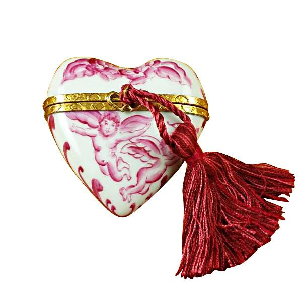 Heart Pink Angel with Tassel Limoges Box by Rochard™-Rochard-Top Notch Gift Shop