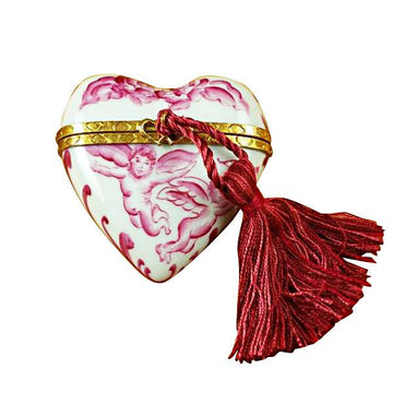 Heart Pink Angel with Tassel Limoges Box by Rochard™