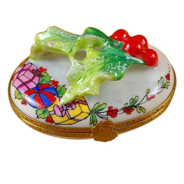 Holly Leaf On Oval Limoges Box by Rochard™-Limoges Box-Rochard-Top Notch Gift Shop