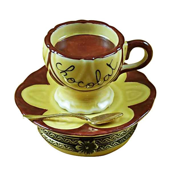 Hot Chocolate Cup & Saucer Limoges Box by Rochard-Limoges Box-Rochard-Top Notch Gift Shop