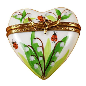 Lily Of The Valley Heart Limoges Box  by Rochard