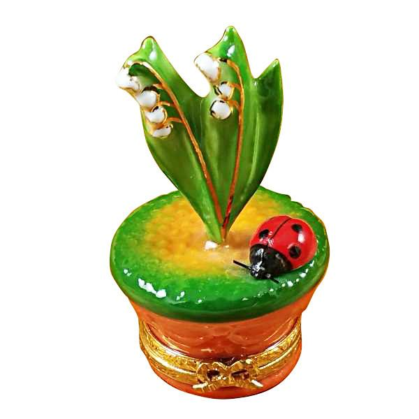 Lily Of The Valley with Lady Bug In Pot Limoges Box by Rochard™-Limoges Box-Rochard-Top Notch Gift Shop