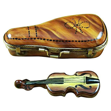 Maplewood Violin Case with Violin Limoges Box by Rochard™