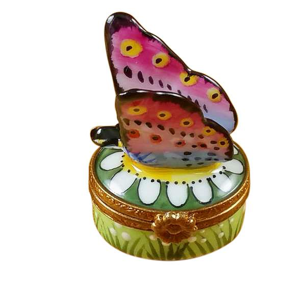 Mini Butterfly On Daisy Limoges Box by Rochard-Limoges Box-Rochard-Top Notch Gift Shop