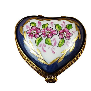 Mini Heart Roses On Blue Base Limoges Box by Rochard™