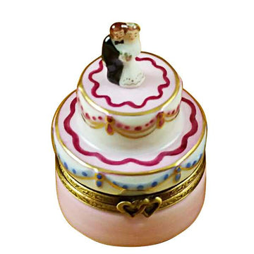 Mini Wedding Cake with Bride & Groom Limoges Box by Rochard™