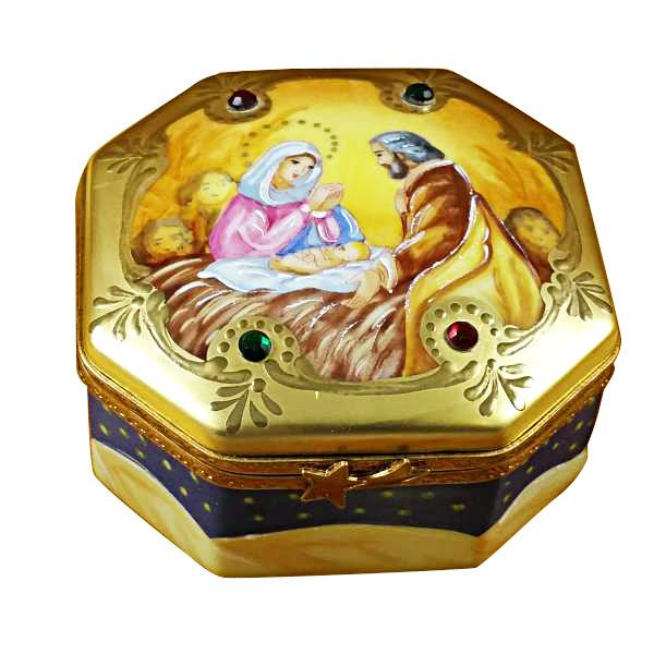 Nativity Octagon Limoges Box by Rochard-Limoges Box-Rochard-Top Notch Gift Shop