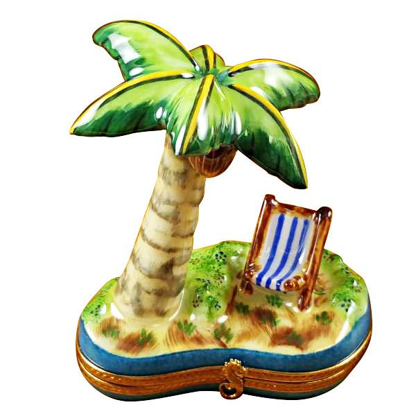 Palm Tree with Chair Limoges Box by Rochard™-Rochard-Top Notch Gift Shop