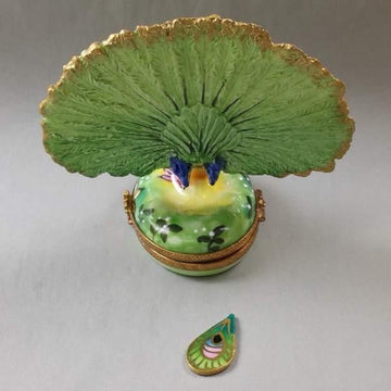 Peacock with Feather Limoges Box by Rochard™