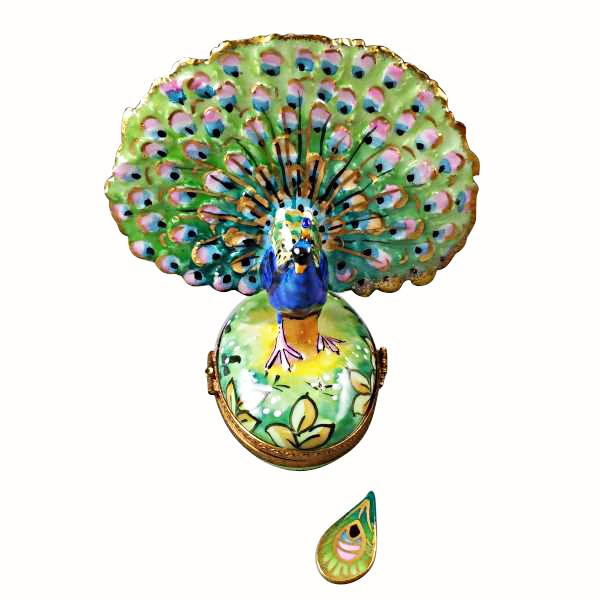 Peacock with Feather Limoges Box by Rochard™-Limoges Box-Rochard-Top Notch Gift Shop