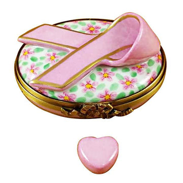 Pink Breast Cancer Ribbon Limoges Box by Rochard™
