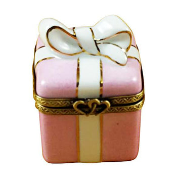 Pink Gift Wrapped Box W/Gold Ribbon Limoges Box  by Rochard