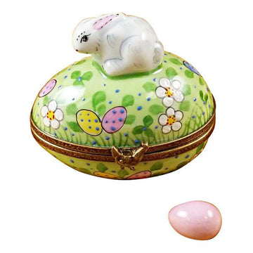 Rabbit On Easter Egg with Egg Limoges Box by Rochard™