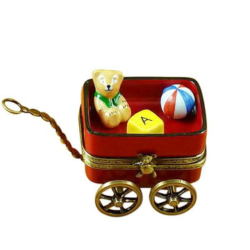 Red Wagon With Bear Limoges Box  by Rochard