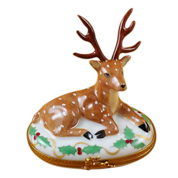 Reindeer Christmas Limoges Box by Rochard-Limoges Box-Rochard-Top Notch Gift Shop
