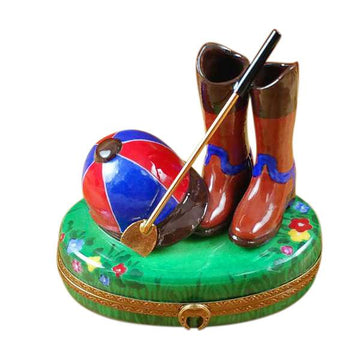 Riding Set with Hat/Stick/Boots Limoges Box  by Rochard
