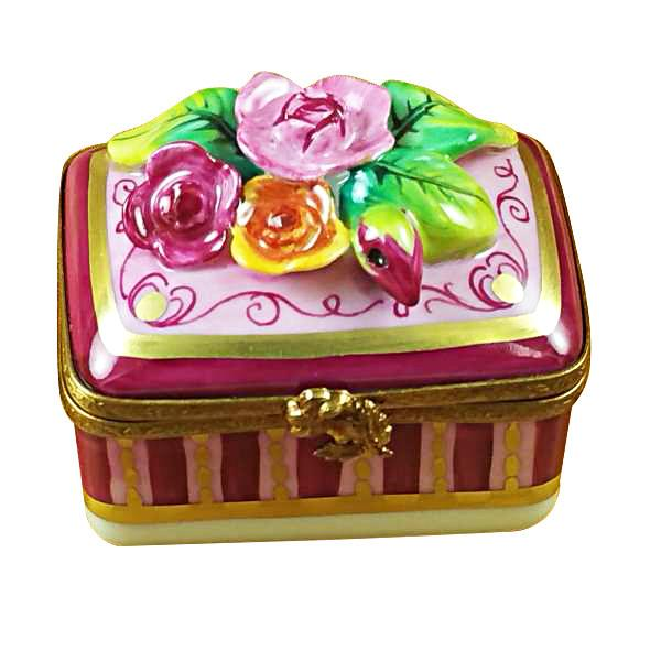 Roses Relief On Rectangle Base Limoges Box-Limoges Box-Rochard-Top Notch Gift Shop