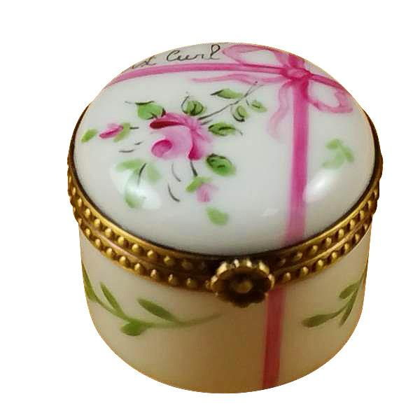 Round Pink First Curl Limoges Box by Rochard™-Limoges Box-Rochard-Top Notch Gift Shop